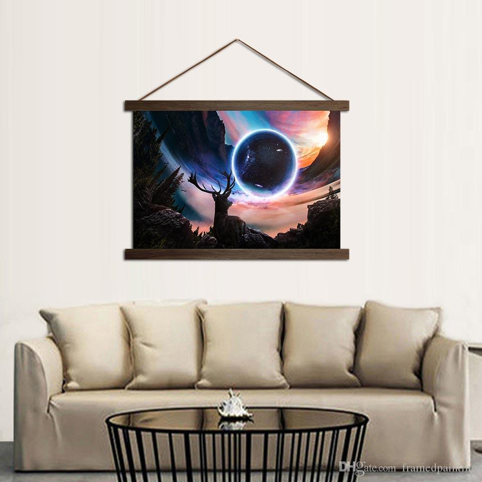 Living Room Scroll Paintings Miracle Views Planet Animal Deer Pictures Hanging Canvas Poster Waterproof Ink HD Image Home Decor