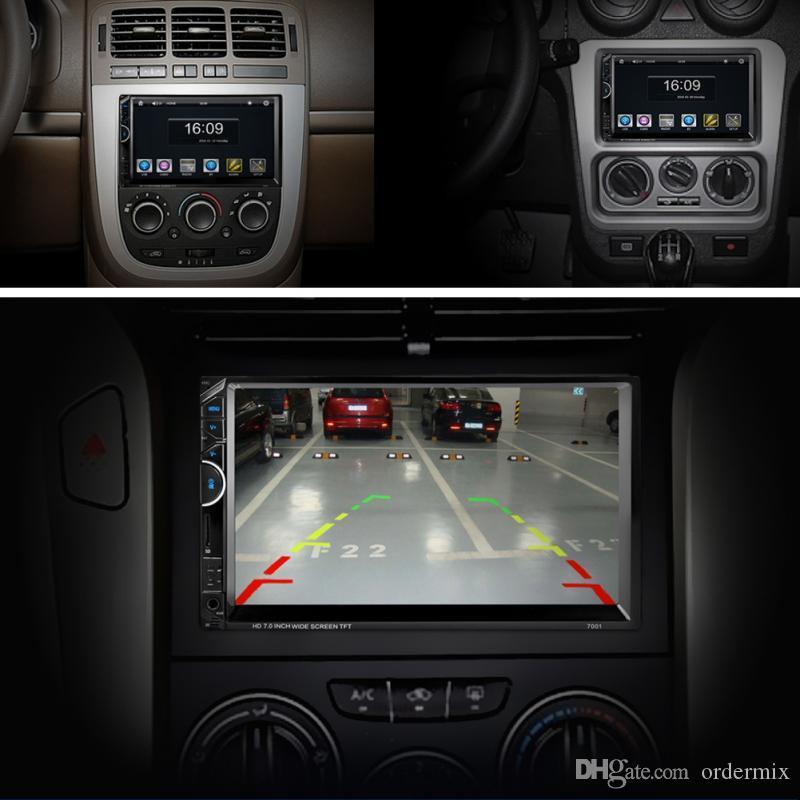 AM + RDS Müzik Film Player ile 2018 Bluetooth Araç Radyo video MP5 Çalar Autoradio FM AUX, USB, SD 7001 HD 1080P Dokunmatik Ekran