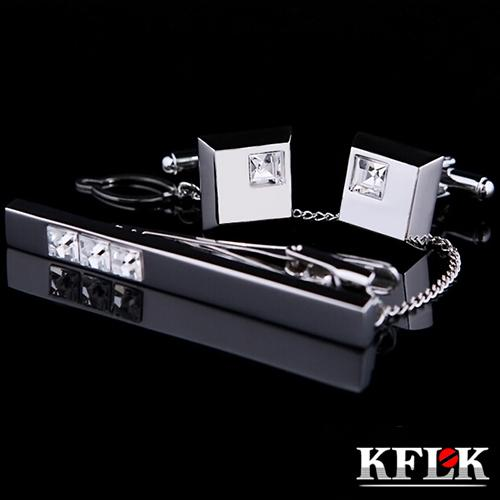 KFLK Cuff links Good High Quality silver necktie clip for tie pin for men White Crystal tie bars cufflinks tie clip set Jewelry