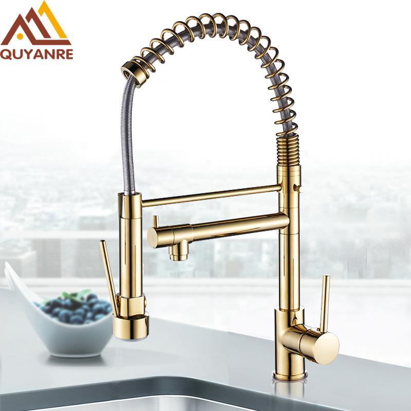 wholesale Golden Chrome Spring Pull Down Kitchen Faucet Dual Spouts 360 Rotation Single Handle Kitchen Mixer Tap 2 Outlet Taps