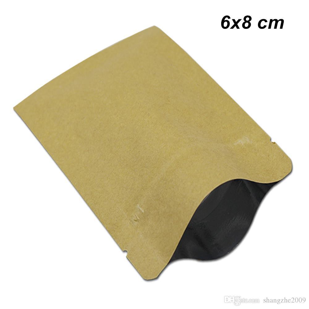 6x8cm Brown Papel Kraft Papel de aluminio reutilizable de almacenamiento de la categoría alimenticia de Mylar Embalaje Bolsas de papel de aluminio de la cremallera de papel Kraft empaquetan para aperitivos