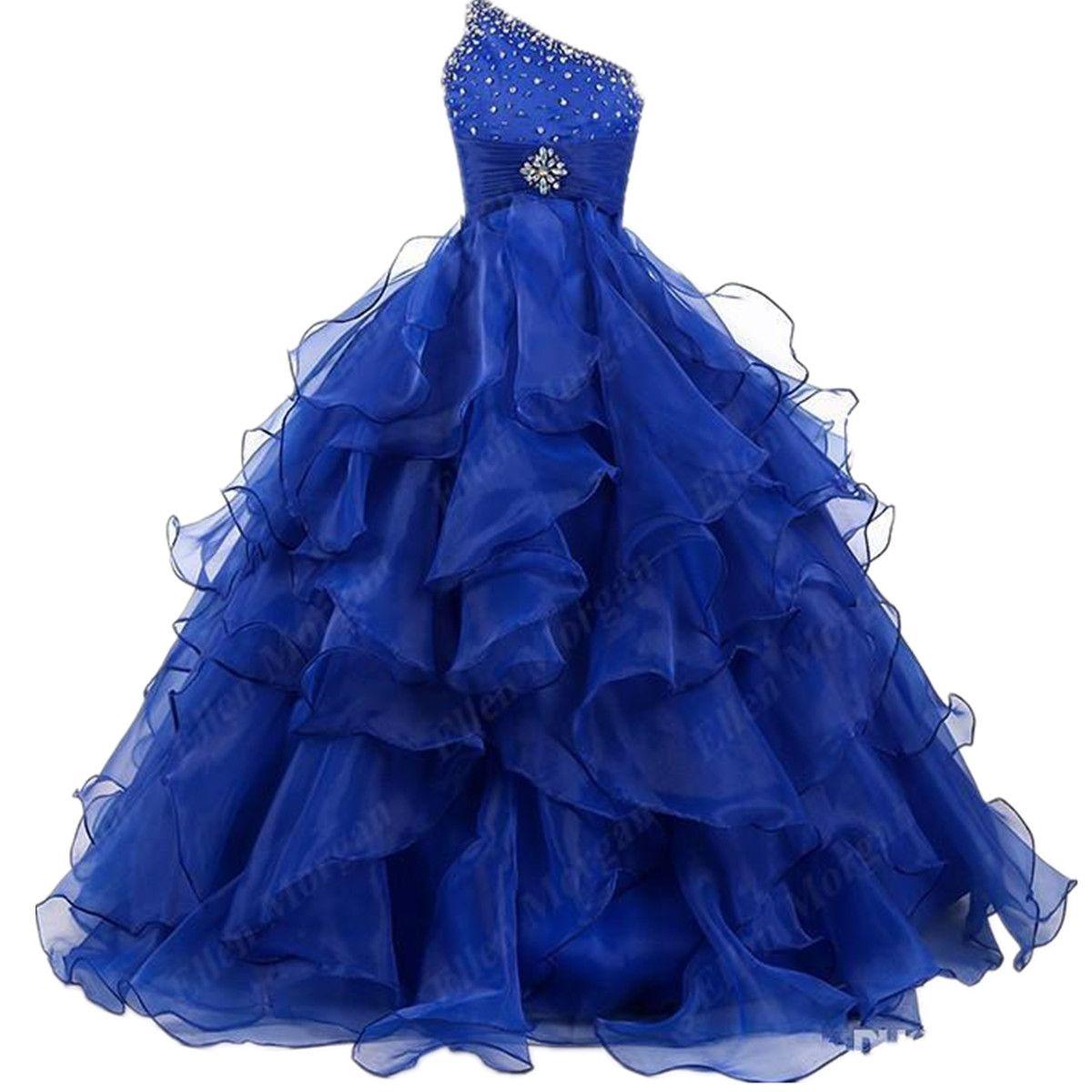 Nouveau bleu one épaule mariage princesse robe robe fleur fille robes de robe de pageant robes princesse organza volants cristal sur mesure