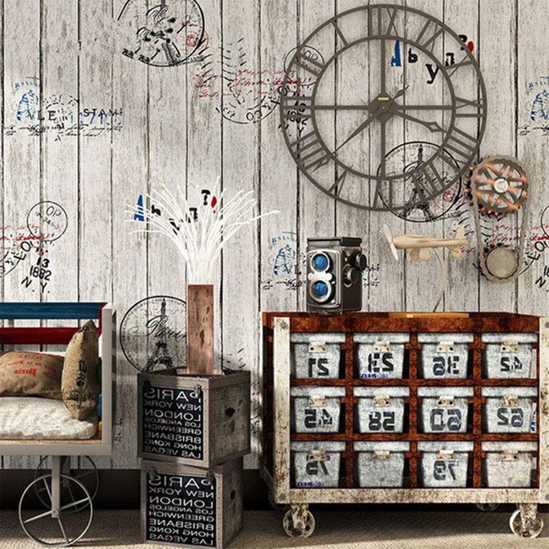 Vinilo Retro Photo Wallpaper Rolls Tablero de madera 3D Cafe Tienda de ropa Papel tapiz de escritorio Decoración Nostálgico Wall Wall Wall Covering