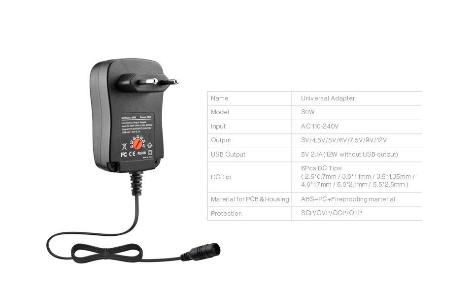30 Вт Универсальный ЕС Plug in switch Адаптер 3 В 4.5 В 5 В 6 В 7.5 В 9 В 12 В зарядное устройство 6 шт. Соединительный штекер питания 5 В 2.1A USB-порт