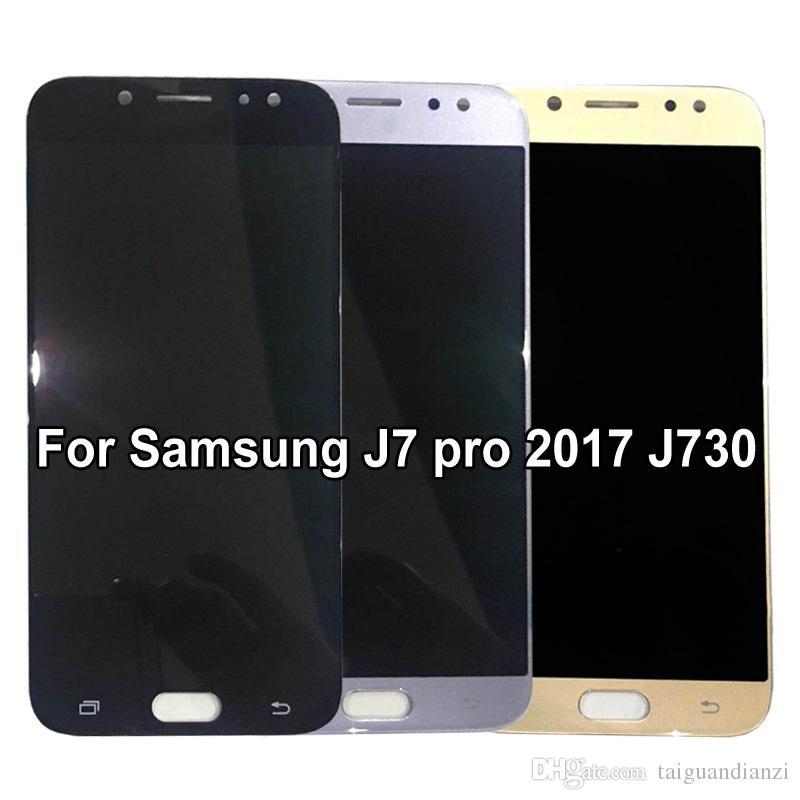 Süper Amoled Samsung Galaxy Için J7 Pro 2017 J730 J730F LCD Ekran Dokunmatik Ekran Digitizer Meclisi Parlaklık Ayarı Ile, ücretsiz kargo