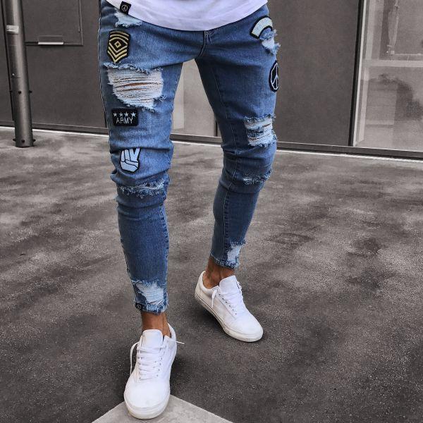 comprar popular 0e4d0 5694e Men Hip Hop Ripped Holes Badge Jean Hombre Slim Fit Jeans Men Pencil Jeans  Streetwear UK 2019 From Johnbob1994, UK $&Price; | DHgate UK
