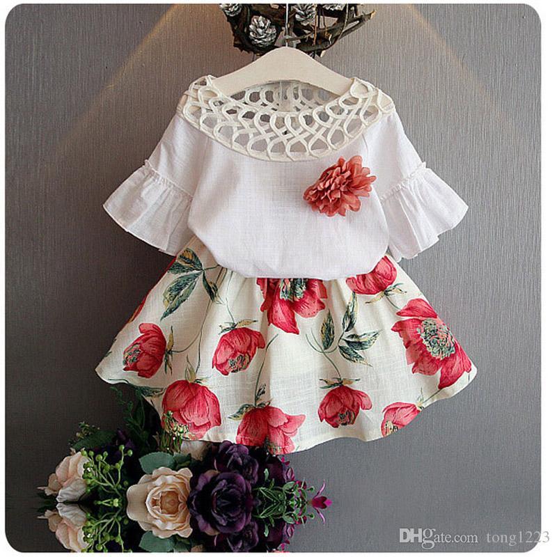 Girl Summer Clothes Baby Girls Clothing Sets 2pcs Children Summer Clothes Set Kids Top + Floral Skirt Dress Suit Set