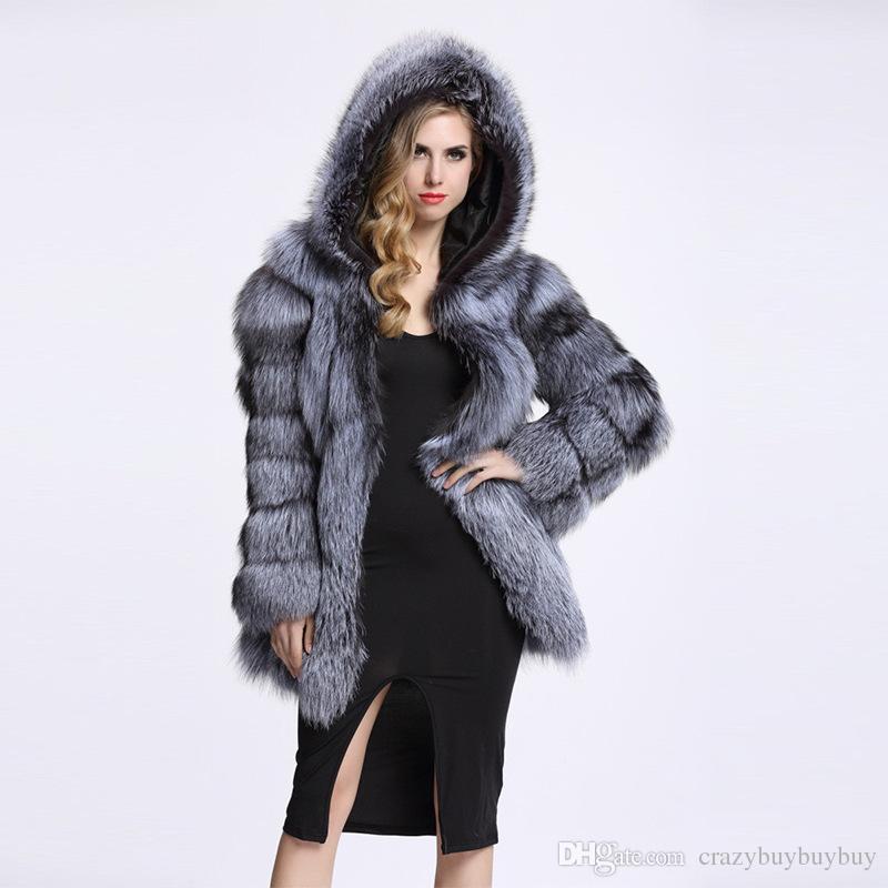 Womens Faux Fox Fur Coat winter warm coat Long luxury Coat Long Sleeve Long Hair Warm with hood Topwear Plus Size WT46