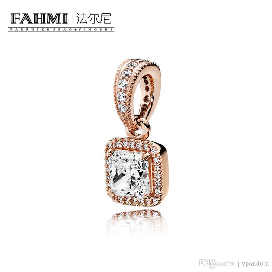 Fahmi 100% 925 Sterling Silver 1: 1 Oryginalny 380378CZ Autentyczne Temperament Moda Glamour Retro Wisiorek Wedding Women Jewelry