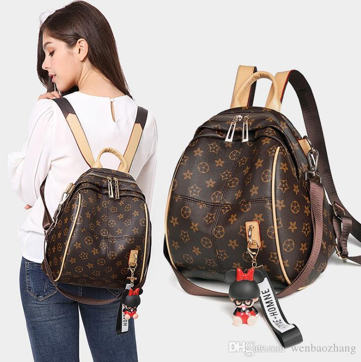 High quality ladies print backpack 2018 new designer classic fashion multi-purpose soft leather backpack travel bag free shipping