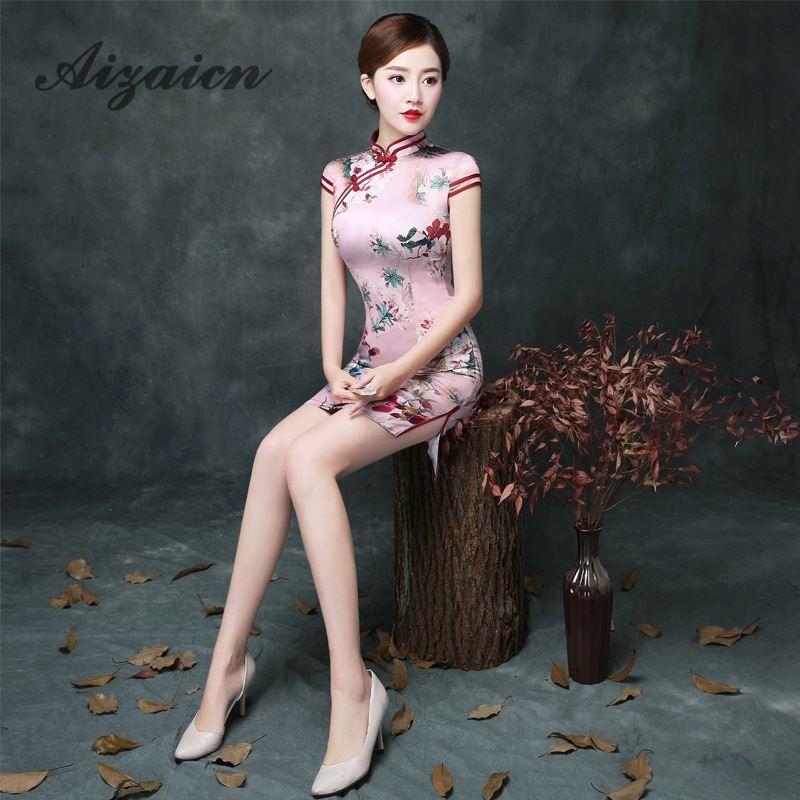 Chinese Traditional Dress Cheongsam Qipao China Evening Dresses Robe Chinoise Vestido Oriental Pink Vintage Qi Pao Casual Cheap