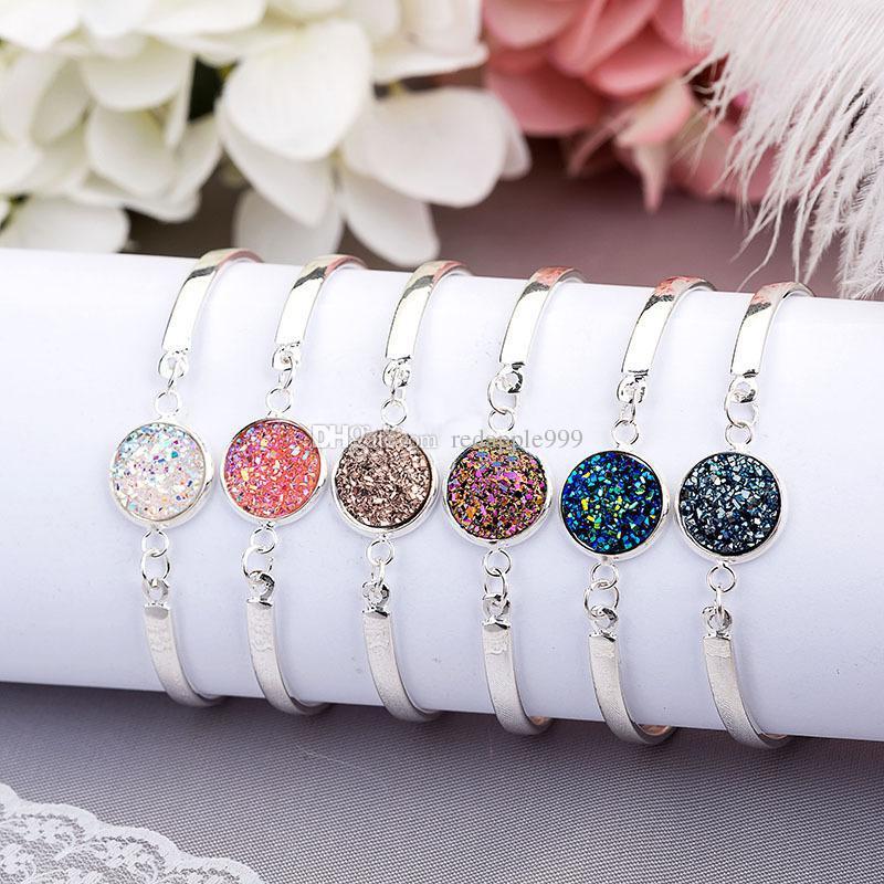 Moda Druzy Drusy pulsera Silver Plating Popular ronda de resina piedras preciosas pulseras de piedra para mujer joyería de la señora