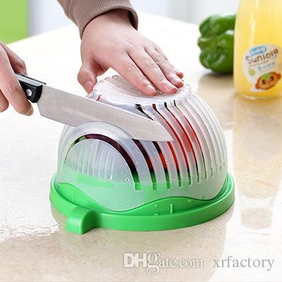 Salata Kesici Kase Mutfak Gadget Sebze Meyve Dilimleyici Kıyıcı Yıkama ve Kesici Hızlı Salata Makinesi Mutfak Aracı