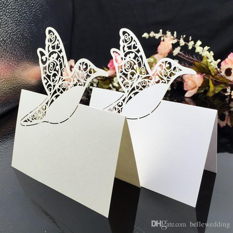 Laser Cut Place Cards With Birds Tree Paper Carving Seating Cards Party Table Decorations Name Cards for Weddings PC60