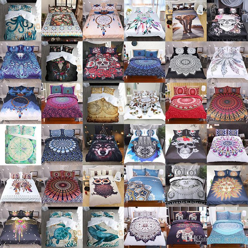 3D Printed Bedding Sets 3pcs/set Bohemia Cartoon Duvet Cover Pillowcases Home Bedding Supplies Christmas Decorative Gift 40 Style WX9-1030