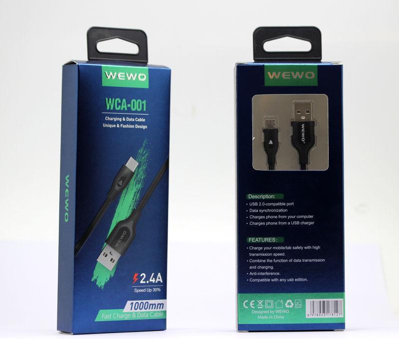 Wewo haute vitesse Micro USB Type de câble C Adaptateur de charge Sync 2.4A rapide Câbles Chargeur pour Huawei Xiaomi Samsung téléphones Android