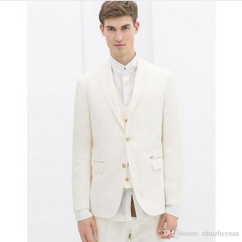 Ivory Slim Fit con muesca solapa Novio Tuxedos trajes de boda para hombres 3 piezas para hombre traje de boda por encargo (jacket + pants + vest)