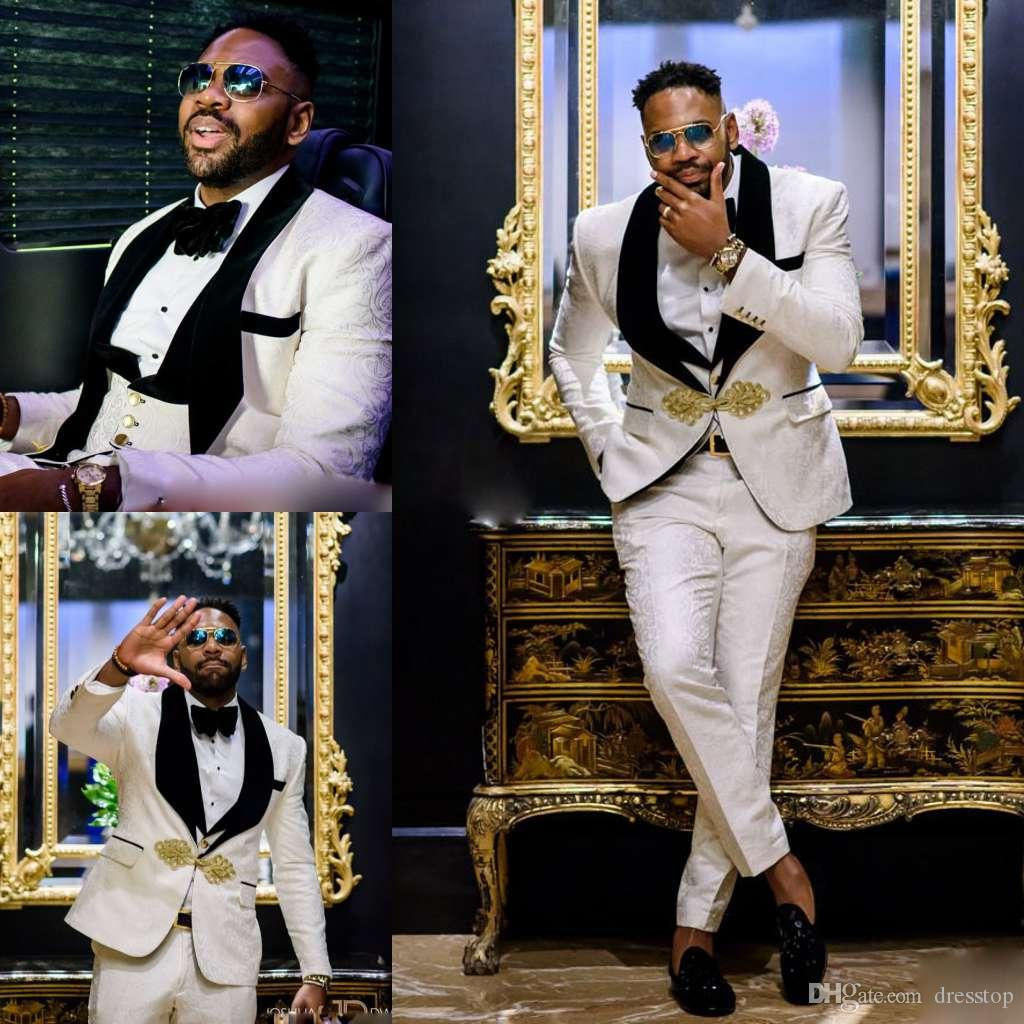 Floral Pattern mens prom tuxedos suits Tuxedos Notch Lapel Center Vent Groom Tuxedos wedding suits for men (Jacket+Pants+Vest+bowtie)