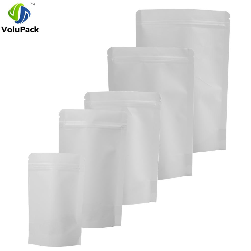 100PCS Tear Notch Reclosable Thick Stand Up Zip Lock Pouch White Kraft Paper Bag Coffee Beans Food Storage