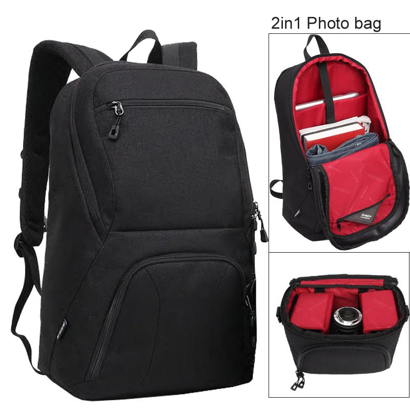 Black Large Capacity 2 in 1 Photo Camera Shoulders Padded Travel Waterproof Backpack Carrying Bag Video Tripod Laptop Case Bags