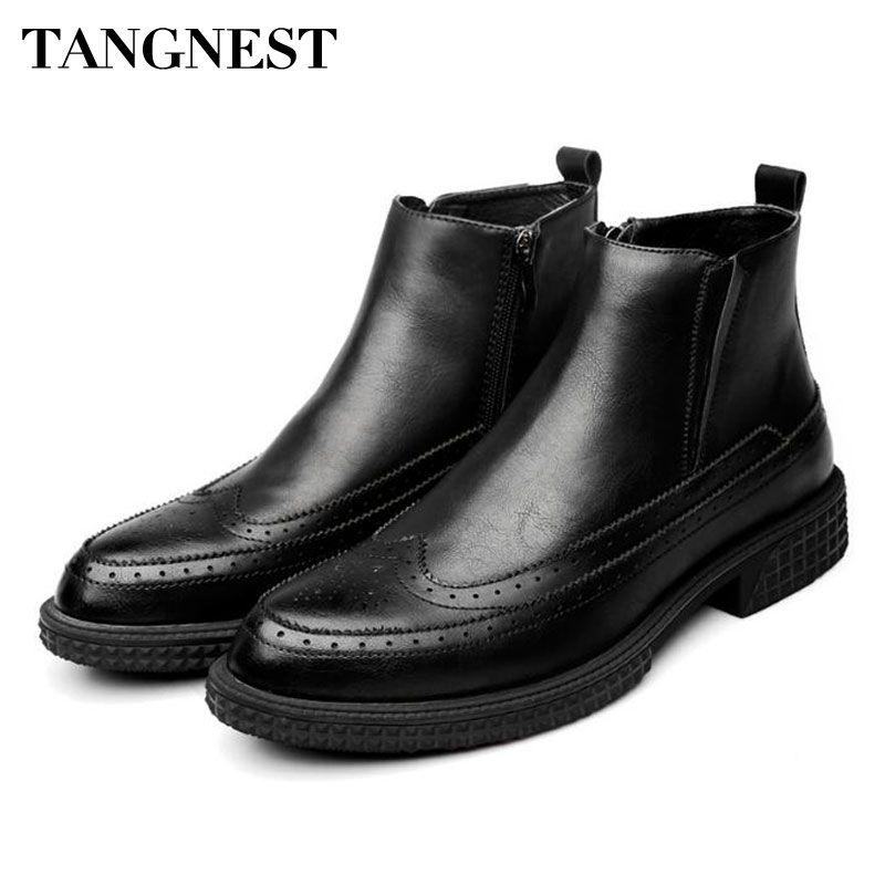 Tangnest YENI Kış erkek Ayak Bileği Çizmeler Vintage Cut-out Brogue Ayakkabı Adam Inek Split Deri Motosiklet Çizmeler Kürk Platformu
