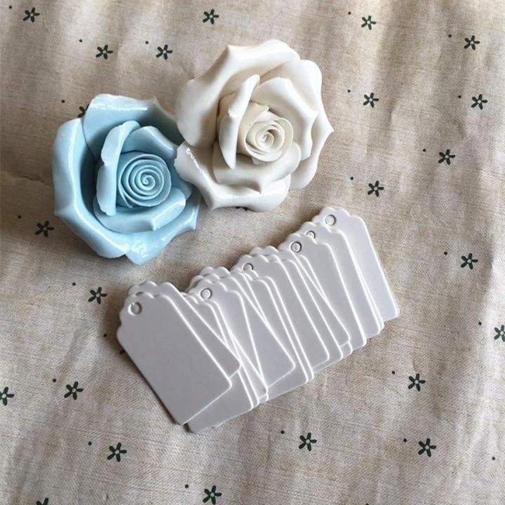100 pcs Presente De Papel Tag Cartão Branco Scallop Festival Decoração Do Casamento Em Branco Mini Etiqueta Lage 2 * 4 cm