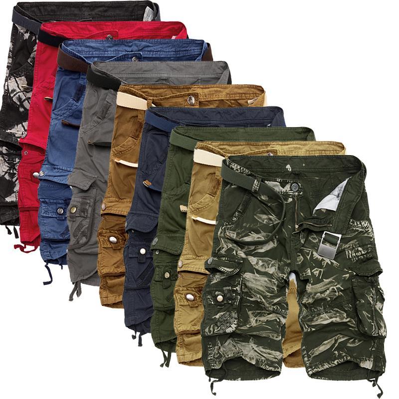 Kargo Şort Erkekler Serin Kamuflaj Yaz Sıcak Satış Pamuk Erkekler Kısa Pantolon Giyim Rahat Camo Kargo Şort