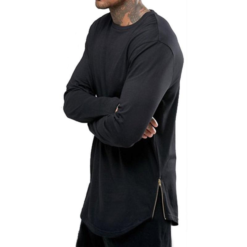 Camiseta de hombre Camiseta de manga larga de color sólido Tops O-cuello Arco de hip hop con dobladillo curvo Camiseta con cremallera lateral Gimnasios Camiseta clásica