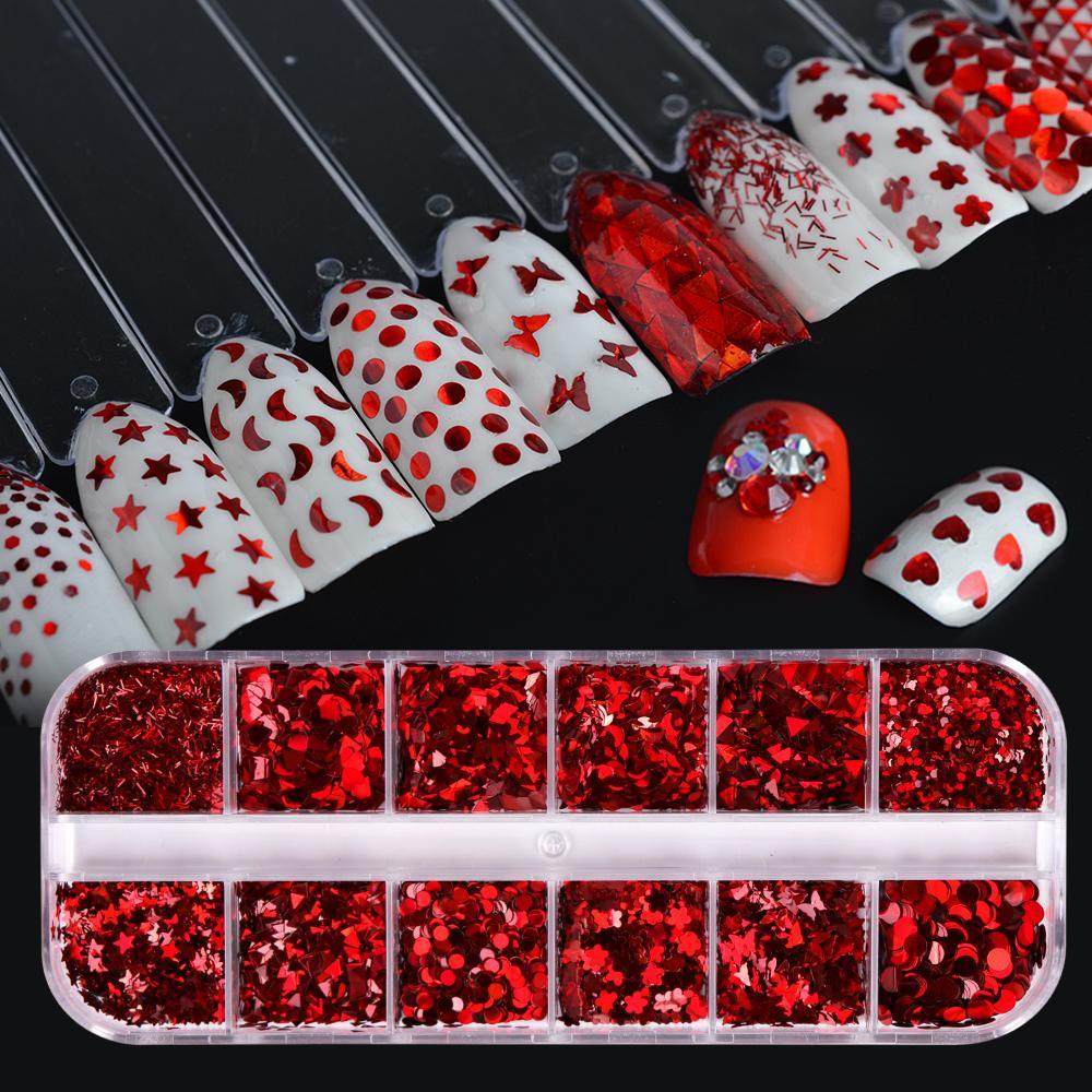 12 Parlak Kırmızı Karışık Şekli Nail Art Dekorasyon 3d İpuçları Glitter Nail Pullu İnce Paillette Mini Çiçek DIY Manikür SA027 Tasarımları