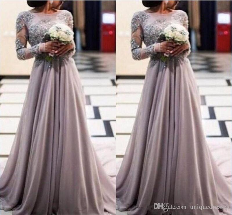 Robe De Soiree Longue 2018 Vestidos de fiesta de manga larga pura árabe Apliques de encaje joya con cuentas Una línea de gasa Boho Vestido formal de noche