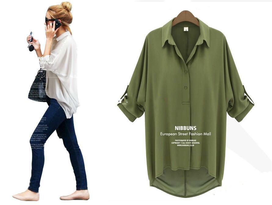 Kadınlar Giyim Gevşek Bluzlar şifon Seksi Yaz Uzun Kollu Gömlek Üst Beyaz Casual Bluzlar Bluz Kadın Kadın Giyim İçin Moda Tops