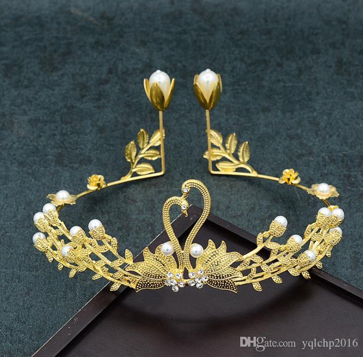 Nouveaux accessoires de cuisson de gâteaux Swan, cerceau, accessoires en or, studio photo, accessoires photo, mariées couronnées.