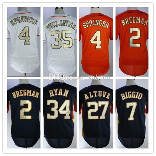 Moda 34 Ryan 35 Verlander Champion Koszulki baseballowe Topy, 7 BigGio 4 Springer 2 Brecman 35 Verlander 5 Bagwell 27 Alluve 1 Correa Jerseres