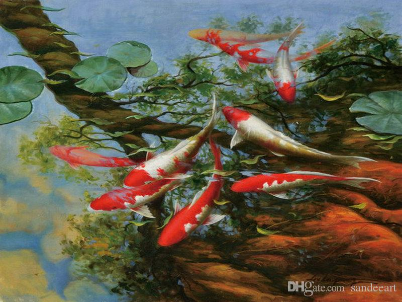 Home art wall decor Feng Shui Fish Koi Oil painting Picture Printed on canvas II