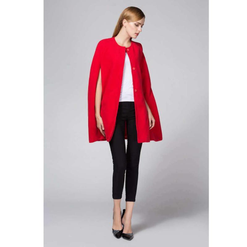 Зима Женщины Шерстяное Пальто 2017 Осень Корейский Мода Batwing Рукавом Свободные Плащ Шерстяные Женщины Негабаритных Casaco Feminino Красное Пальто