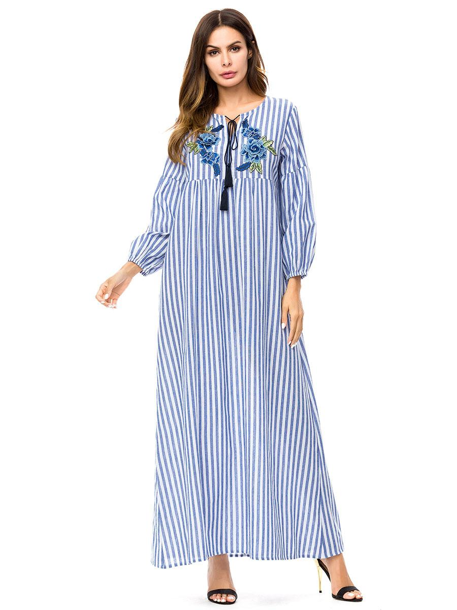 2019 Elegant Ladies Vertical Stripe Embroidered Long Dress Autumn 2018 Rose  Embroidery Maxi Dresses Blue Plus Size Patchwork Muslim From