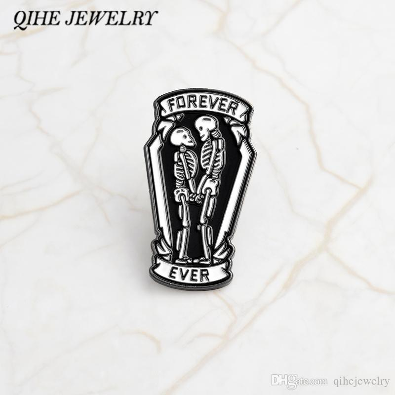 QIHE JEWELRY Punk pins Black coffin with skeleton couple inside forever and ever Gothic pin Gift for boyfriend girlfriend
