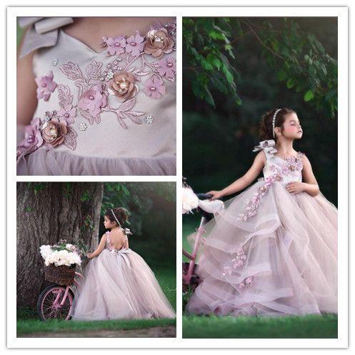 Çiçekler ile 2019 Pembe Tül Kızlar Yarışması Elbise Balo Çiçek Kız Elbise Bebek Kız Parti Giyim Elbise