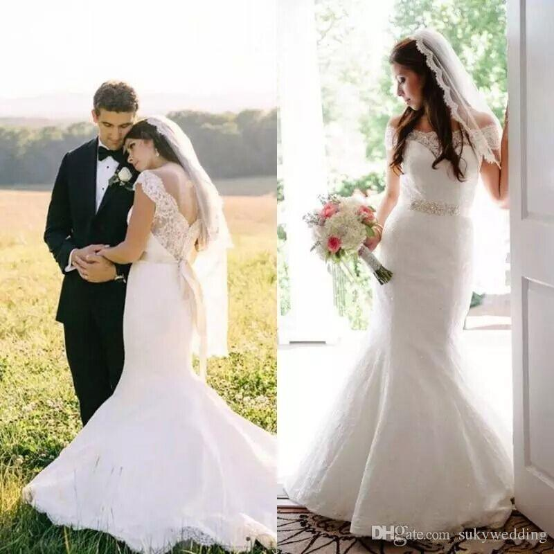 Vestidos de novia de sirena moderno de la primavera de encaje apagado la ilusión hombro Vestidos de boda de la vendimia V traseros con los vestidos de novia marco moldeado