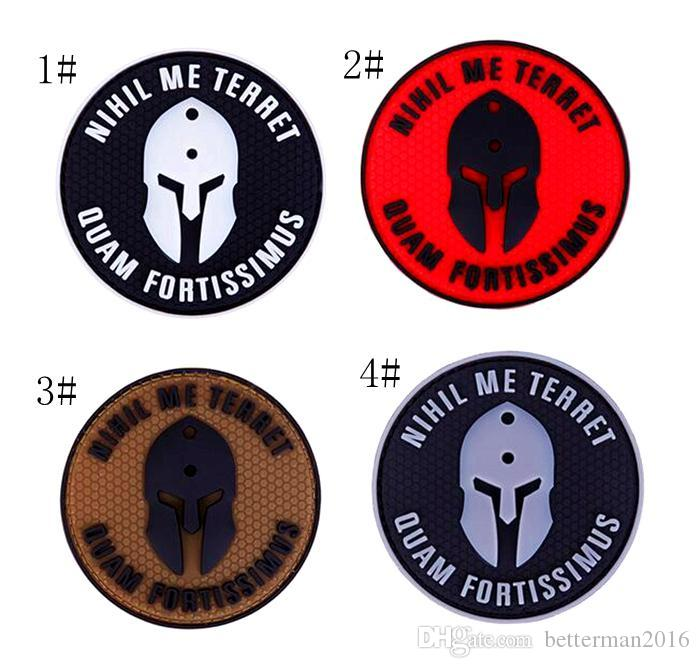 18VP-32 Wholesale Spartan Helm PVC tactical Patches with magic tape rubber patch morle badges can mixcolor