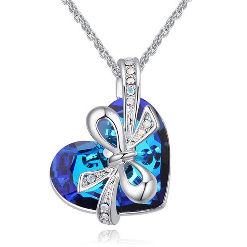 New Design Classic Heart Necklace Crystal from Swarovski Elements Bijoux Femme Love Gifts For Women Wedding Accessories Jewellery 25948