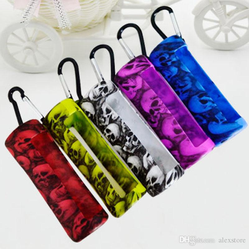 Skull Head E Juice Silicone Skin Carrying Sleeve Case Soft Pouch Box Display Rubber Cover for 60ml Eliquid EJuice Bottles DHL