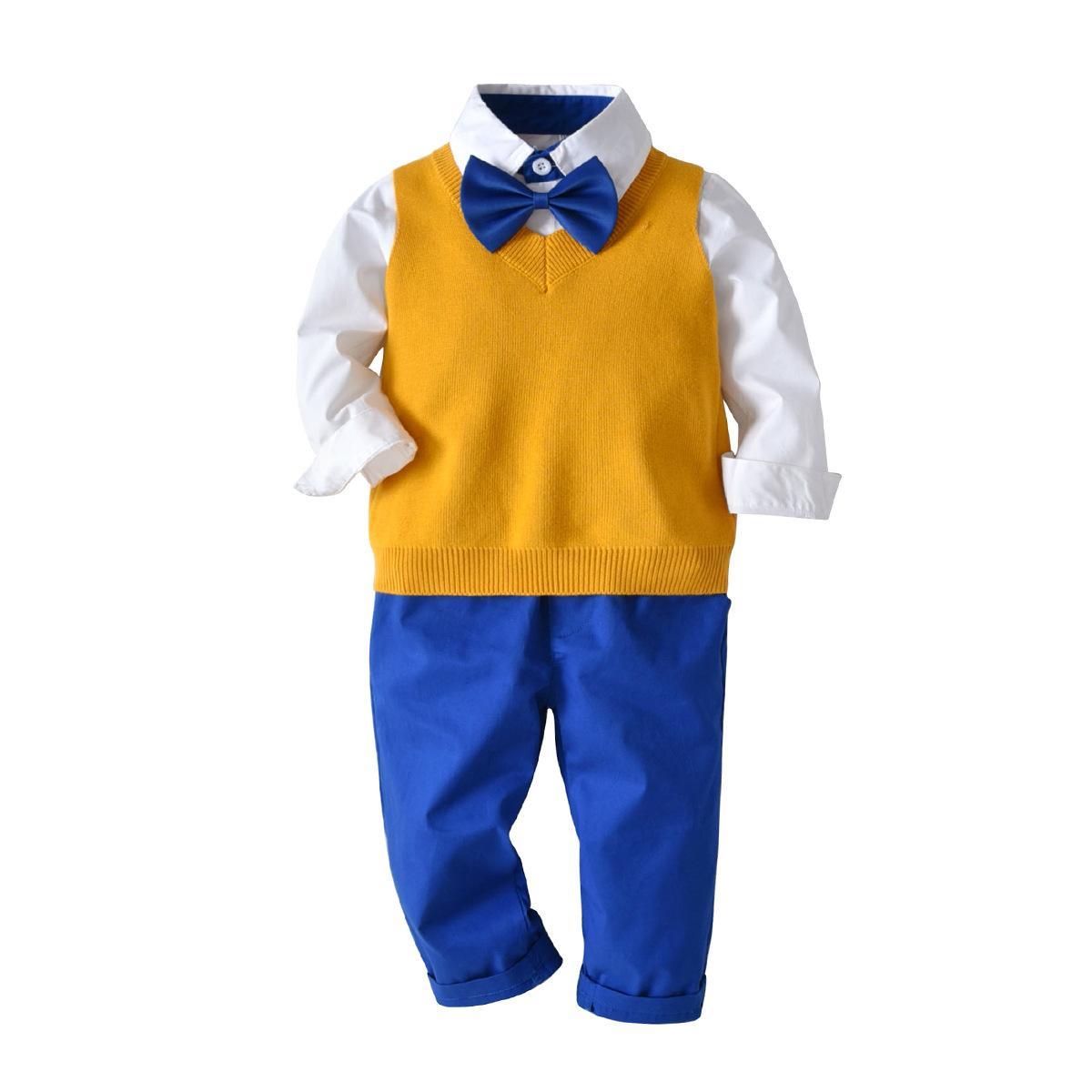 Junge Kleidung Set Autumn Gentleman Anzug Kinder Langarm-Fliege Plaid Shirt + Pants + Strickweste Kinder Outfits