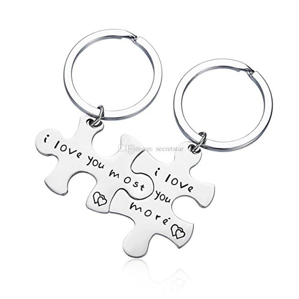 """Letter """"I Love You Most/More """"Steel titanium Puzzle keychain Key RingS"""