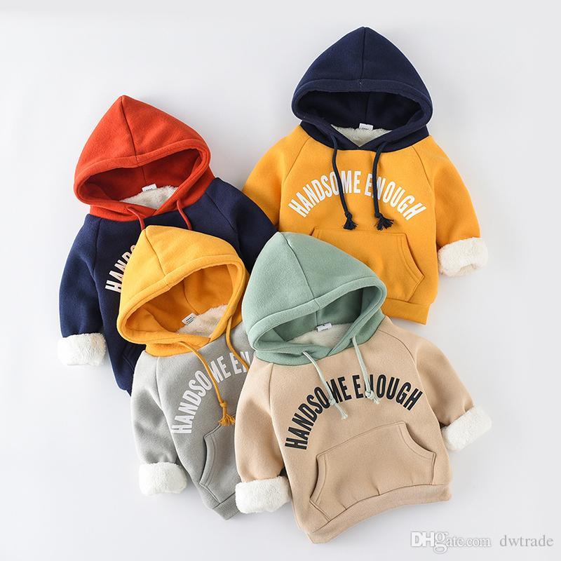 Bebek Giysileri Çocuklar Kıyafetler Uzun Kollu Pamuk Hoodies Tişörtü Çocuk Kış Sıcak Pamuk Dış Giyim Bebek Giyim 4 Renkler ile