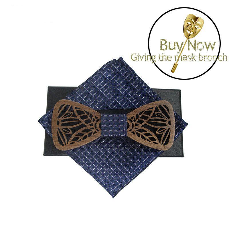 Clásico Original Madera Elegante Caballero Novio Corbatas de lazo Hecho a mano Mariposa Banquete de boda Corbatas de lazo Mariposa Madera Única corbata