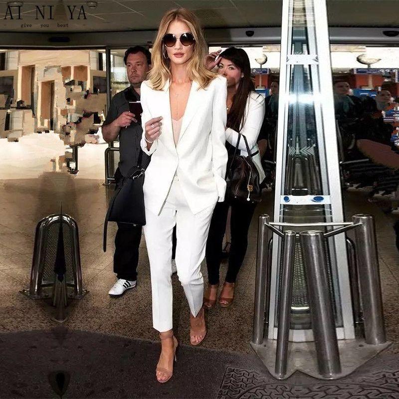 2022 Moda e Blazers Custom White Calças Suits Mulheres Negócios Mulheres Inverno Formal Escritório Uniformes Trabalho Tuxedo Roupas