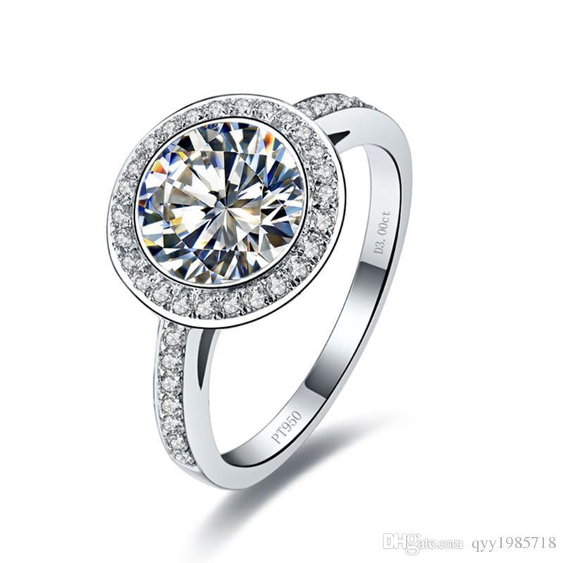 프로 모션 3CT 라운드 컷 합성 다이아몬드 반지 스털링 실버 쥬얼리 18k 화이트 골드 도금 결혼 반지 여성을위한 도금