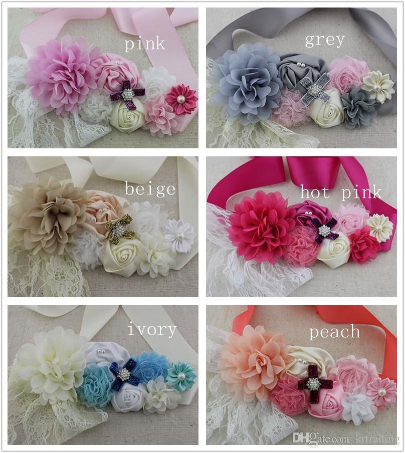 6 colori Maternity Sash 2mx5cm strass fiore imitazione perle pizzo nastro decro cintura Donna incinta fiore Sash per la gravidanza fotografia