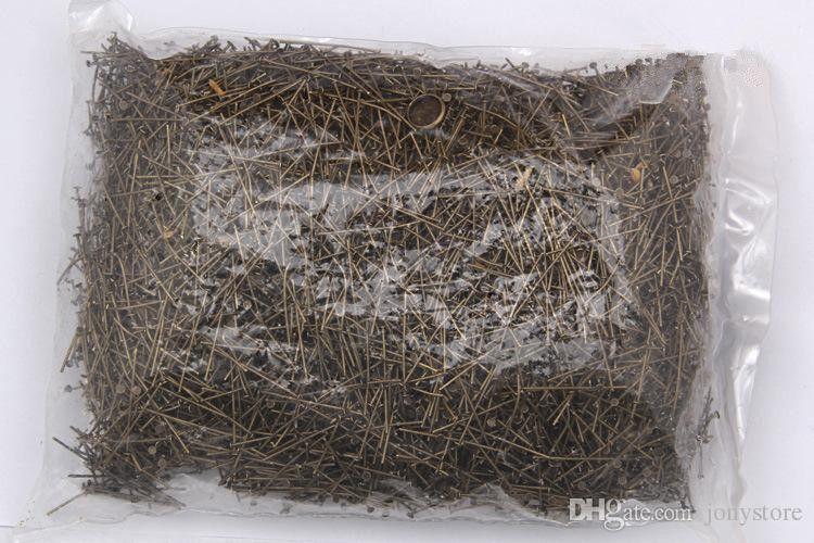 1000 unids / bolsa 18-40mm Cabeza Plana Pins Pins Pins de Color de Bronce para la Fabricación de Joyas Accesorios